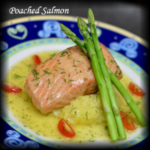 Poach Salmon with Lemon Butter Sauce